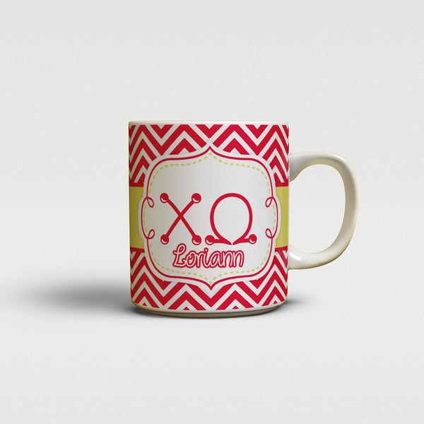 CHI OMEGA - THIN RED CHEVRON WITH YELLOW - ChiO COFFEE MUG