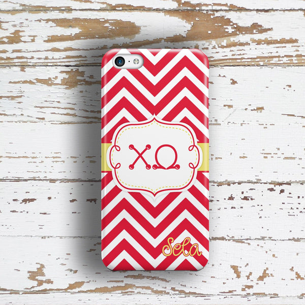 Chi Omega - Thin red chevron with yellow - ChiO sorority Iphone case