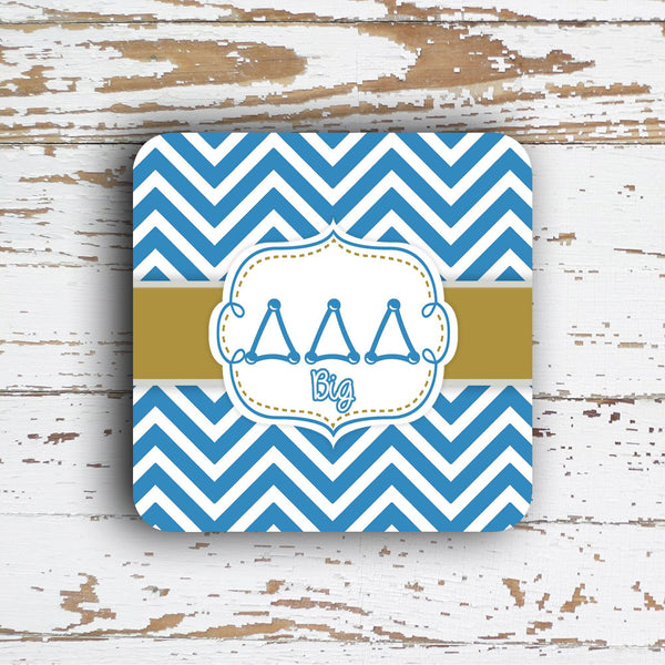 DELTA DELTA DELTA - THIN CHEVRON WITH SORORITY LETTERS - MONOGRAMMED COASTER