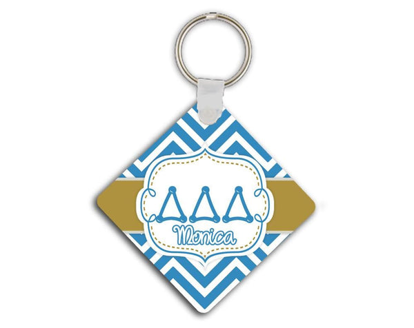 DELTA DELTA DELTA - THIN BLUE CHEVRON WITH GOLD - TriDelta SORORITY KEYCHAIN
