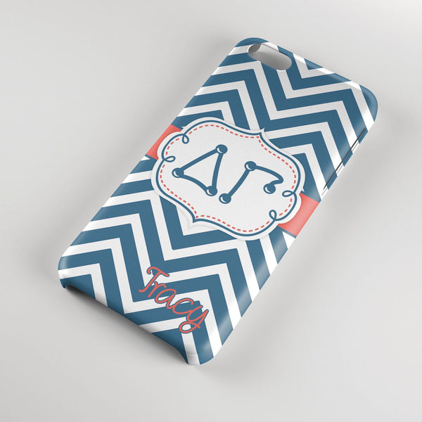 DELTA GAMMA - THIN BLUE CHEVRON WITH PINK - DG SORORITY IPHONE CASE