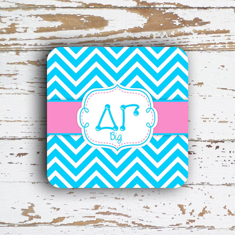 DELTA GAMMA - THIN CHEVRON WITH SORORITY LETTERS - MONOGRAMMED COASTER