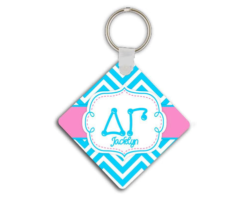 DELTA GAMMA - THIN BLUE CHEVRON WITH PINK - DG SORORITY KEYCHAIN
