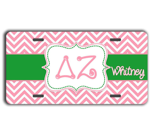 DELTA ZETA- THIN PINK CHEVRON WITH GREEN - DZ  LICENSE PLATE