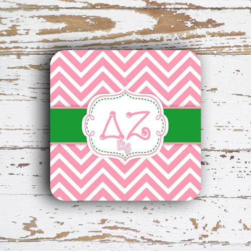 DELTA ZETA - THIN CHEVRON WITH SORORITY LETTERS - MONOGRAMMED COASTER