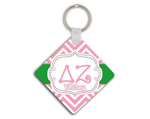 DELTA ZETA - THIN PINK CHEVRON WITH GREEN - DZ SORORITY KEYCHAIN