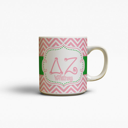 DELTA ZETA- THIN PINK CHEVRON WITH GREEN - DZ COFFEE MUG