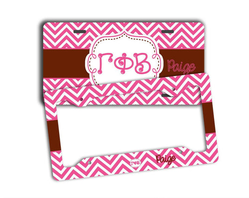 GAMMA PHI BETA - THIN PINK CHEVRON WITH BROWN - GPB LICENSE PLATE