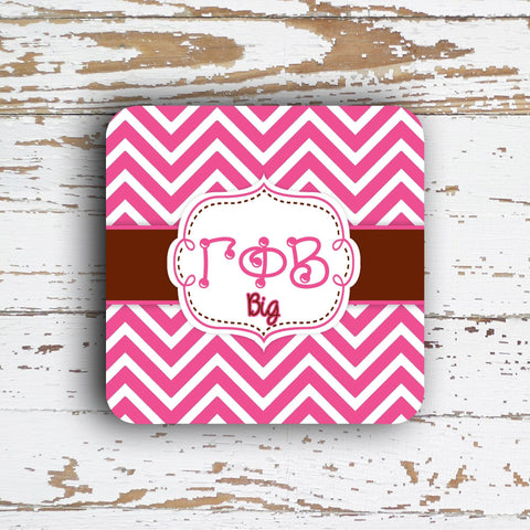 GAMMA PHI BETA - THIN CHEVRON WITH SORORITY LETTERS - MONOGRAMMED COASTER