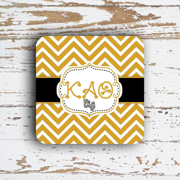 KAPPA ALPHA THETA - THIN CHEVRON WITH SORORITY LETTERS - MONOGRAMMED COASTER