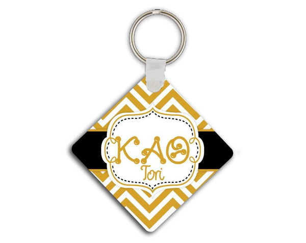 KAPPA ALPHA THETA - THIN CHEVRON BLACK AND GOLD - KAO SORORITY KEYCHAIN
