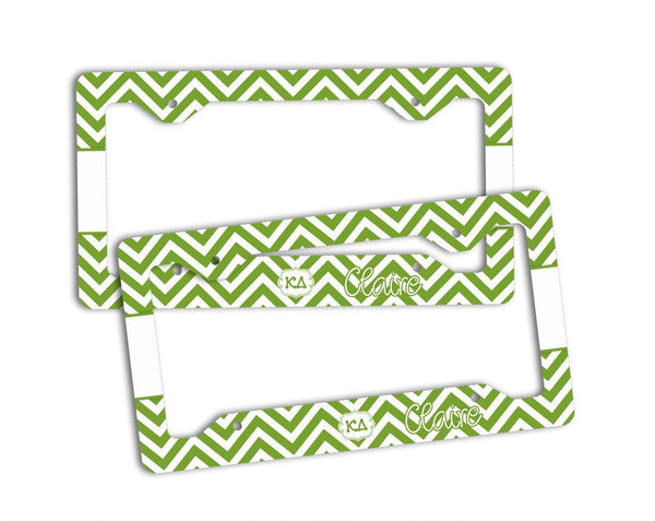 KAPPA DELTA - THIN GREEN CHEVRON - KD LICENSE PLATE