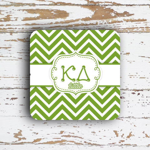 KAPPA DELTA - THIN CHEVRON WITH SORORITY LETTERS - MONOGRAMMED COASTER