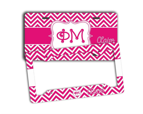 PHI MU - THIN PINK CHEVRON - SORORITY LICENSE PLATE