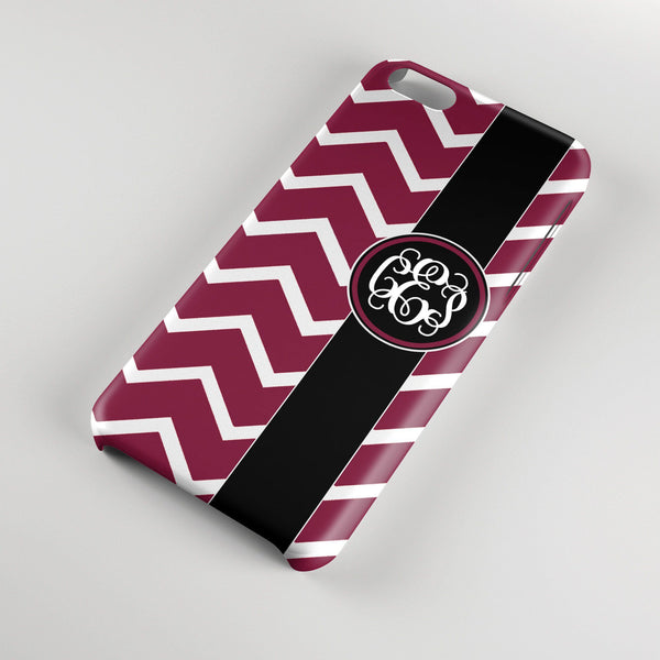 Preppy maroon chevron with black - Personalized gift for women - Monogram Iphone case