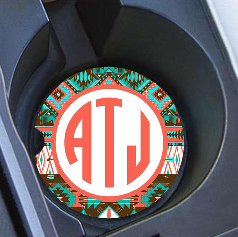 Aztec design - Monogrammed car coaster - Coral and Teal