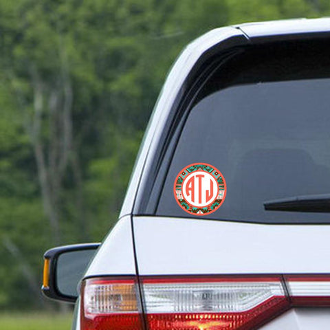 Aztec design - Monogrammed car window sticker - Coral and Teal
