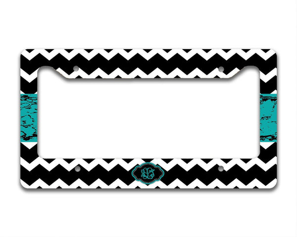 Chevron with distressed gungy turquoise ribbon - Monogram auto accessory