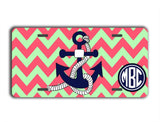 Coral and navy blue chevron with anchor license plate or frame - Nautical car decor