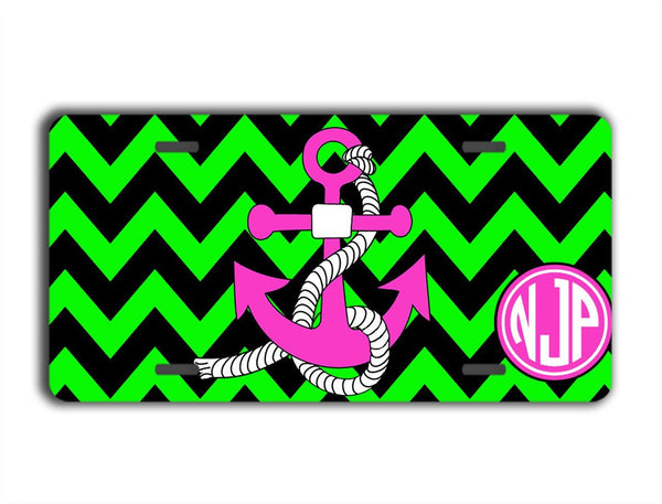 Black and lime green chevron with anchor license plate or frame - Nautical auto accessories