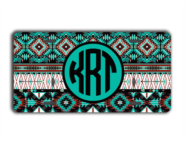 Turquoise maroon black Aztec pattern - Monogrammed car coasters for her