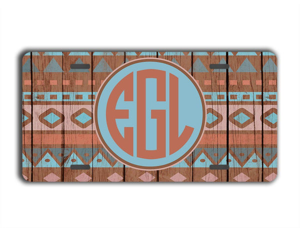 FAUX WOOD PATTERN WITH DISTRESSED AZTEC - MONOGRAMMED LICENSE PLATE