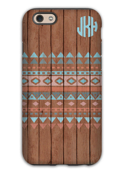 Faux wood Iphone case - Aztec design with monogram - Blue and coral