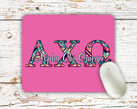 Alpha Chi Omega - Aztec letters in turquoise, pink, yellow - A-Chi-O sorority mouse pad