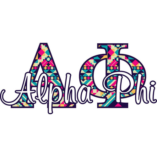 Alpha Phi sorority wall decal - Aztec letters - Removeable dorm decor