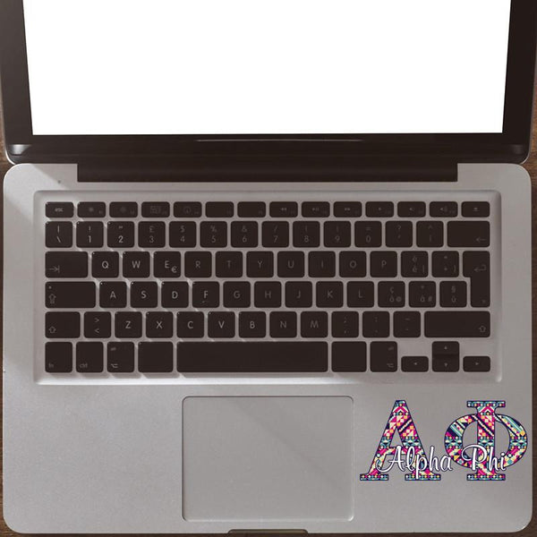 Alpha Phi car decal - Aztec letters - APhi sorority sticker