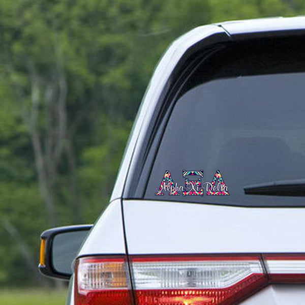Alpha Xi Delta car decal - Aztec letters - AXD sorority sticker