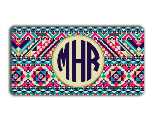 AZTEC PRINT - MONOGRAMMED LICENSE PLATE OR FRAME
