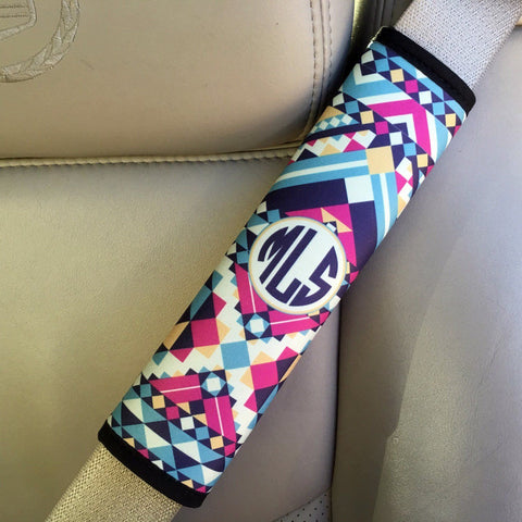 Aztec print - Padded seat belt strap cover - Pink and turquoise car decor for her