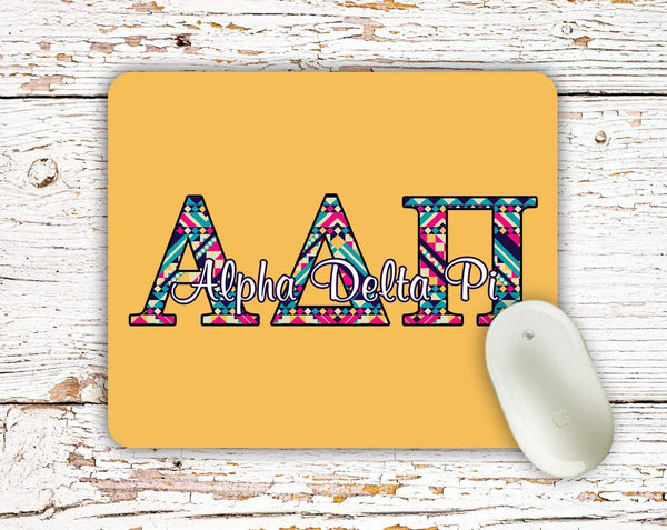 Alpha Delta Pi - Aztec letters in turquoise, pink, yellow - ADPi sorority mouse pad