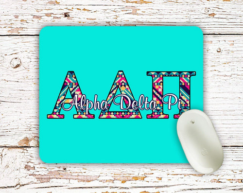 Phi Sigma Sigma - Aztec letters in turquoise, pink, yellow - PhiSig sorority mouse pad