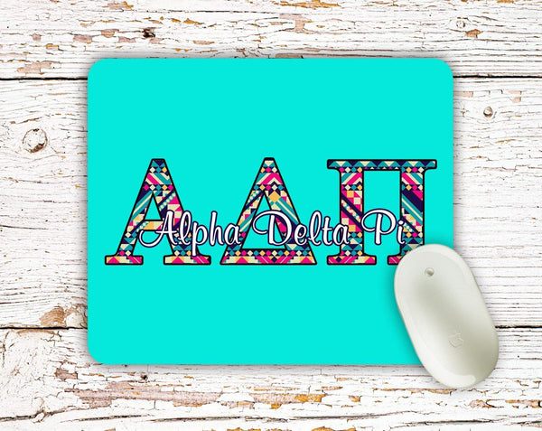 Sigma Sigma Sigma - Aztec letters in turquoise, pink, yellow - TriSig sorority mouse pad
