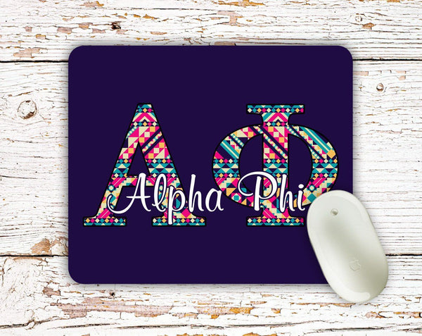 Alpha Phi - Aztec letters in turquoise, pink, yellow - APhi sorority mouse pad