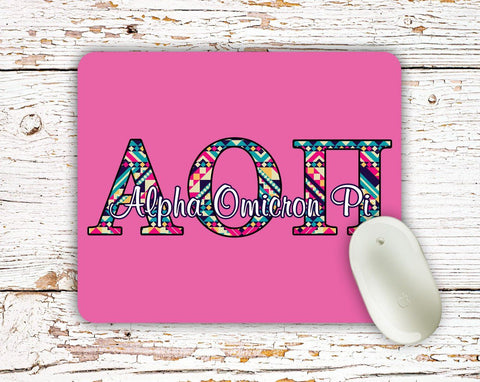 Alpha Omicron Pi - Aztec letters in turquoise, pink, yellow - AOPi sorority mouse pad