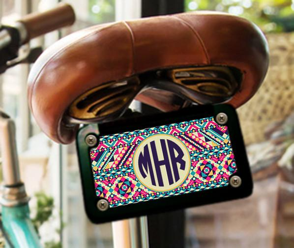 aztec print monogrammed license plate or frame