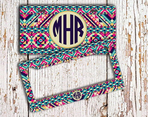 Aztec print - Personalized front car tag or frame