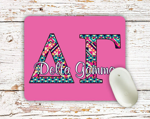 Delta Gamma - Aztec letters in turquoise, pink, yellow - DG sorority mouse pad