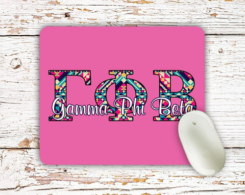 Gamma Phi Beta - Aztec letters in turquoise, pink, yellow - Gamma Phi sorority mouse pad