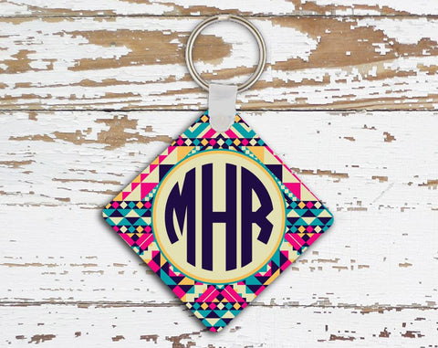 Aztec print - Monogrammed key chain - Pink and turquoise car accessories