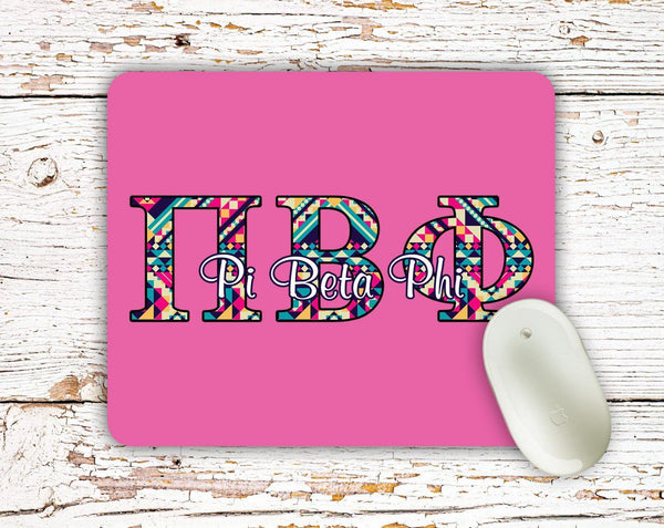 Pi Beta Phi - Aztec letters in turquoise, pink, yellow - PiPhi sorority mouse pad