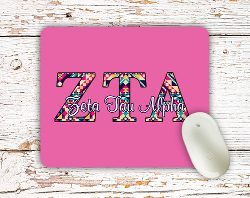 Zeta Tau Alpha - Aztec letters in turquoise, pink, yellow - ZTA sorority mouse pad