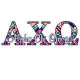 Alpha Chi Omega car decal - Aztec letters - A ChiO sorority sticker