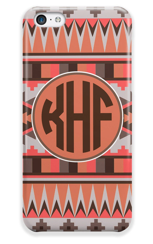 Coral and brown tribal print - Monogrammed Iphone case for girls