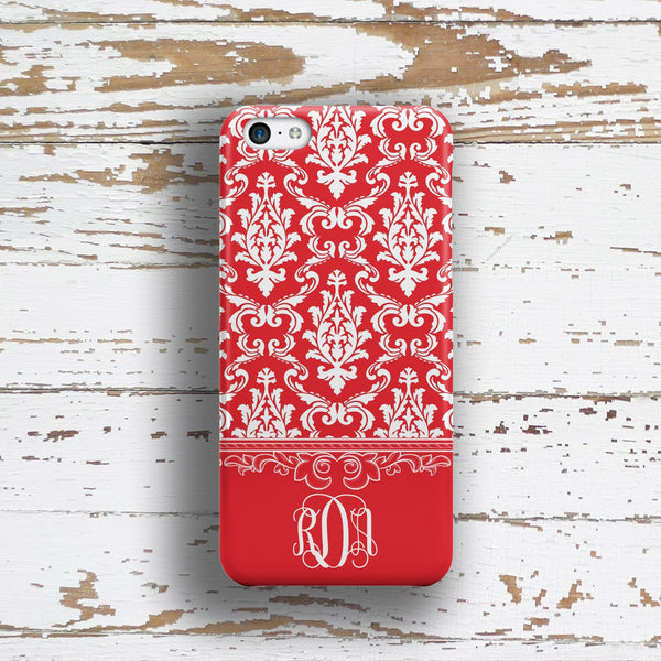 Elegant red and white damask print - Customizable Iphone case for women