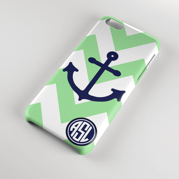 Nautical Iphone case - Mint and white chevron with navy blue anchor