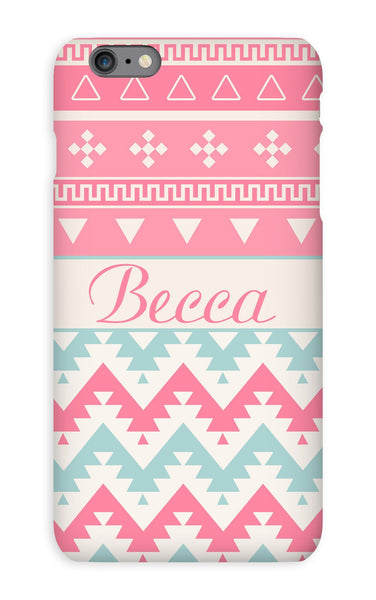 Cute Aztec print Iphone case for Teens - Pink and blue Tribal chevron